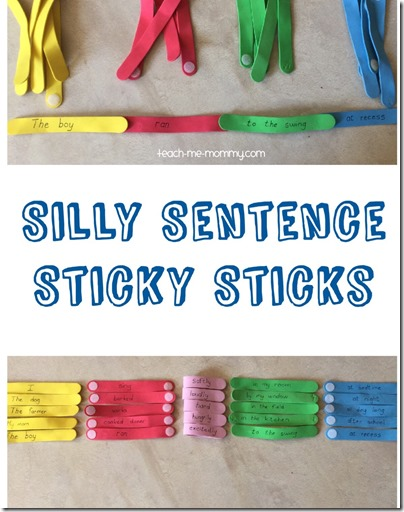 Silly Sentence Sticks Activity - Great hands on activity to help kids K-4th grade practice writing sentences