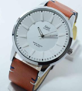 jam Tangan Q & Q brown leather silver white