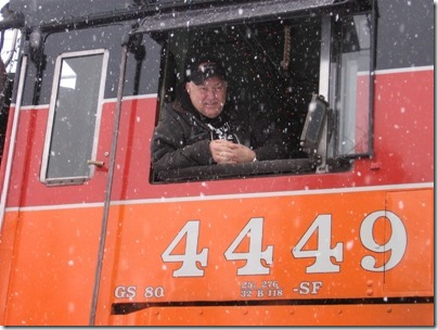 IMG_4777 Doyle McCormack in the Cab of Southern Pacific Daylight GS-4 #4449 at Oaks Park in Portland, Oregon on December 14, 2008