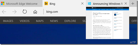 Edge tab preview