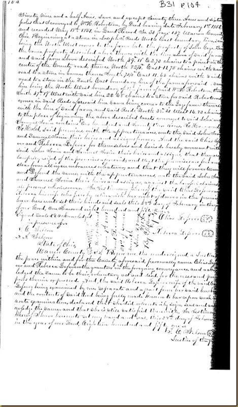Elias Lefever,Rebecca LefeverWarren Co,OhconveyJohn Irwin,Samuel Irwin18511