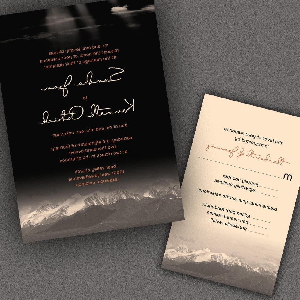 Rustic Wedding Invitation Suite, Glowing Mountain Range with Gentle Clouds