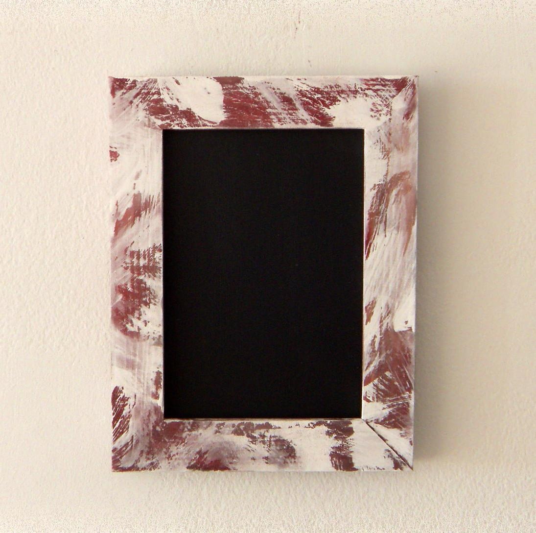 Chalkboard with Patinated Frame -- White and Burgundy for Wedding Tables,