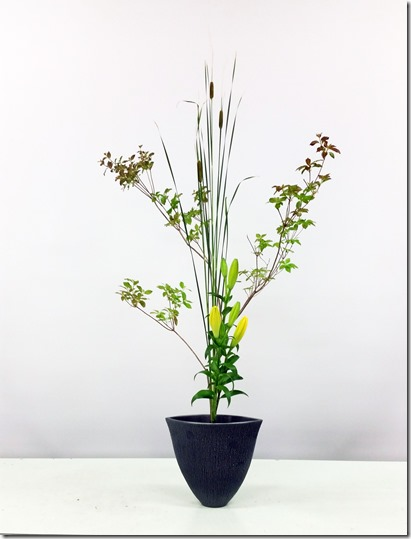 【生花三種生】ヒメガマ、アブラツツジ、スカシユリ