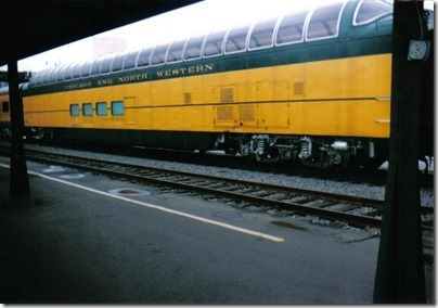Chicago & North Western Full Dome #421 Powder River at Union Station in Portland, Oregon on September 26, 1995