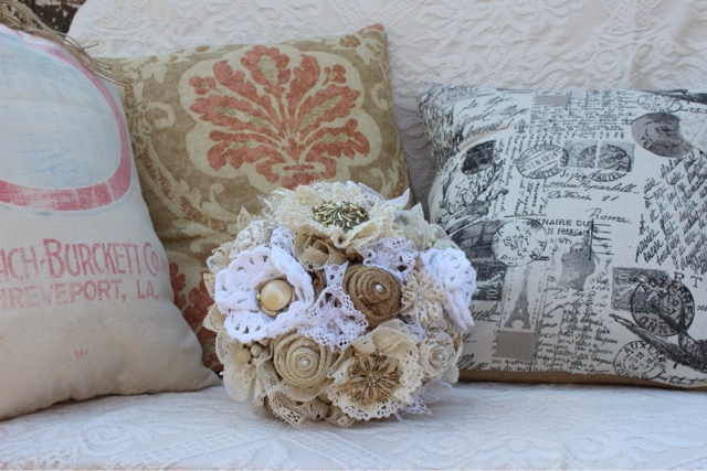 keepsake burlap and lace wedding flowers
