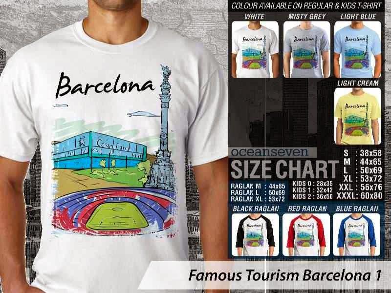 Kaos Wisata Barcelona 1 Spanyol distro ocean seven