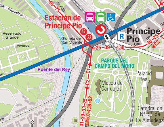 Cómo llegar en transporte público a la explanada y puente del Rey de Madrid Río