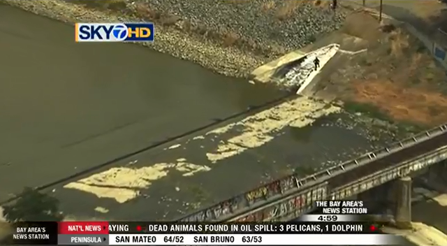 Aerial view of an inflatable dam on Alameda Creek that was attacked by vandals on 22 May 2015, resulting in the loss of nearly 50 million gallons of water into the San Francisco Bay. Photo: SKY 7 News