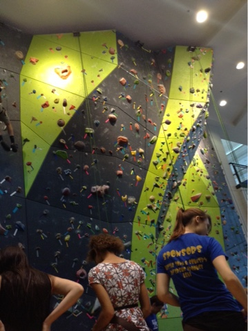 The rock climbing wall at the Johnson Center, which is where a lot of the active stuff happens on campus.