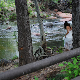 Bride in Nature by Nancy Lowrie - Wedding Bride ( water, nature, trees, bride, river )