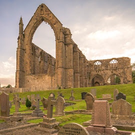 by Darrell Evans - Buildings & Architecture Public & Historical ( clouds, augustinian monastery, building, old, church, grass, remains, green, priory, ruin, stone )