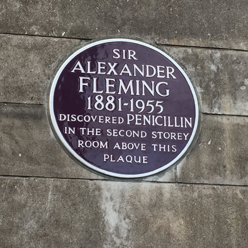 SIRALEXANDERFLEMING1881 - 1955DISCOVERED PENICILLININ THE SECOND STOREYROOM ABOVE THISPLAQUE I was strolling through Paddington yesterday. Spotted a wonderful plaque. This discovery saved my ...