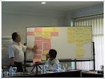 Pak Edy Marbiyanto mempersentasikan hasil pengumpulan ide dan gagasan dari peserta rapat pembahsan draft kurikulum perubahan iklim dan redd+
