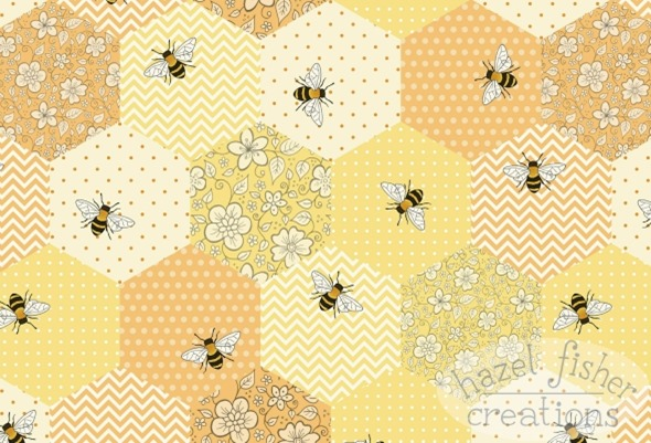 2015 April 27 Patchwork Bees Spoonflower contest fabric design hazelfishercreations 1