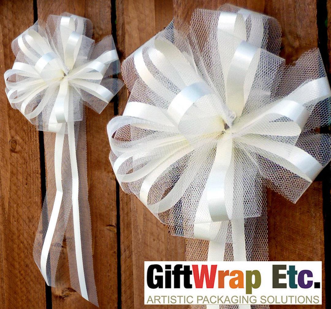 10 Ivory Wedding Pew Bows Net