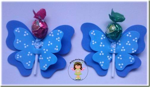 Porta Pirulito Borboleta azul