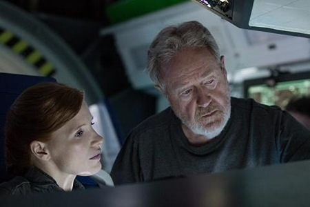 Jessica Chastain and director Ridley Scott in The Martian