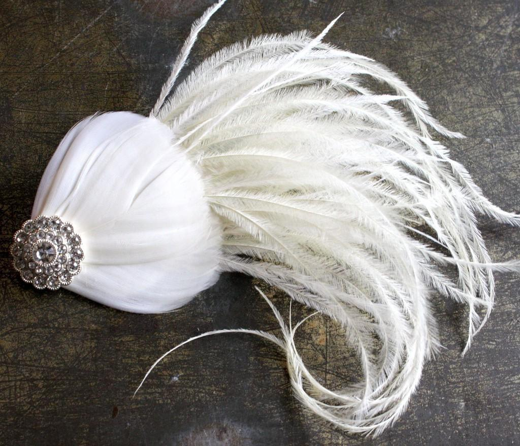 Adele - Ivory Ostrich Feather and Rhinestone Wedding Fascinator Hair Clip