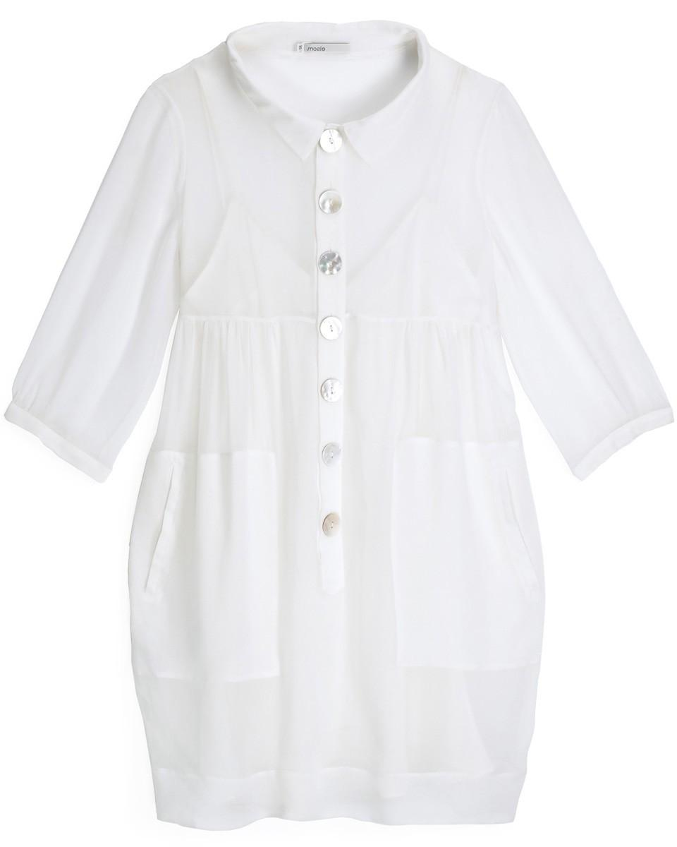 Organic silk white button