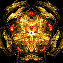 The Nest by Nancy Bowen - Illustration Abstract & Patterns ( black background, orange, abstract art, nest, yellow, gold, glow, fractal )