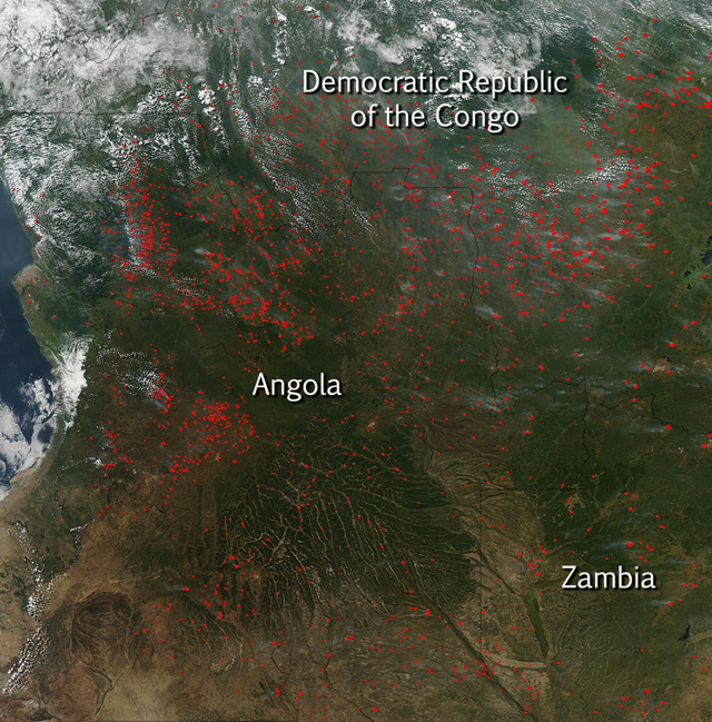 Agricultural fires dotted the landscape in Angola, DRC, and Zambia in this Aqua image from May 21, 2015. Photo: Jeff Schmaltz / MODIS Rapid Response Team