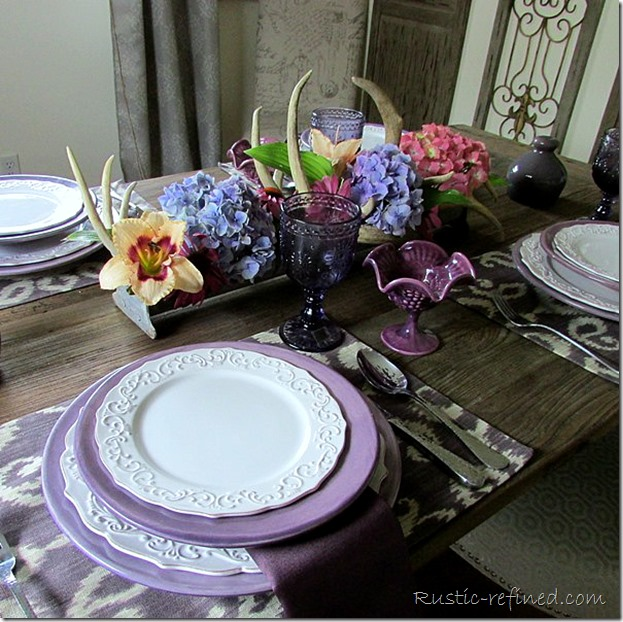 Summer Tablescape with purple and white color scheme
