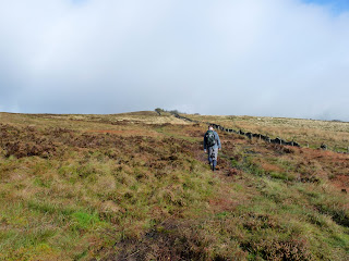 John walks on ahead for Burbage Edge Trig Pillar
