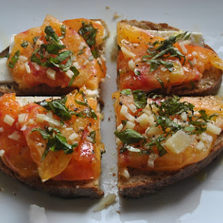 """SO GOOD I MADE IT TWICE"" HEIRLOOM TOMATO, FETA AND BASIL OPEN FACED SANDWICH"