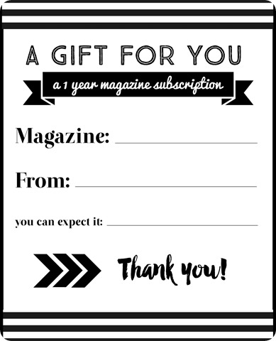 magazine subscription gift thank you