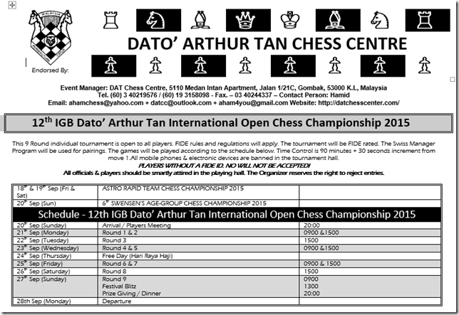 12th IGB Dato' Arthur Tan International Open Chess Ch 2015