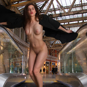 Trying To Fly by Mike Lloyd - Nudes & Boudoir Artistic Nude ( nude, street, in bublic, gir, staion, outside )