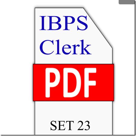 IBPS Clerk Preliminary Question paper PDF Set 23