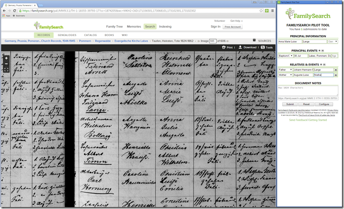 The FamilySearch Pilot Tool for indexing - Click to englarge