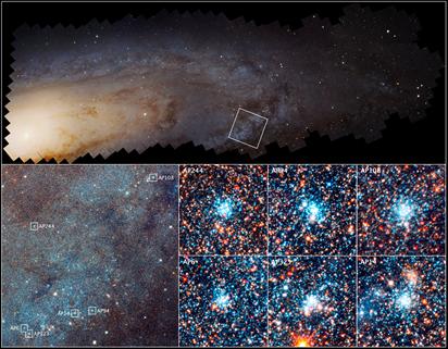 aglomerados estelares na galáxia de Andrômeda