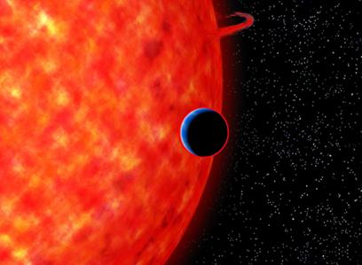 ilustração do exoplaneta GJ 3470b e da sua estrela