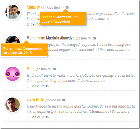 recent comments widget with tooltips