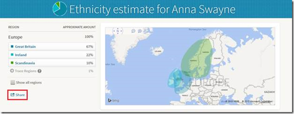 AncestryDNA ethnicity results can be shared with others.