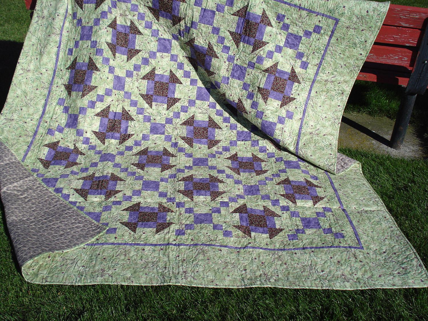 SALE Quilt Purple and Green
