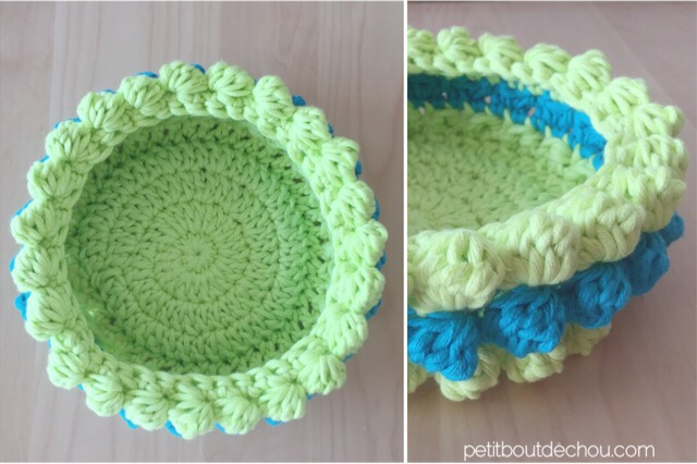 DIY Bobble stitch crochet basket cotton yarn colorful