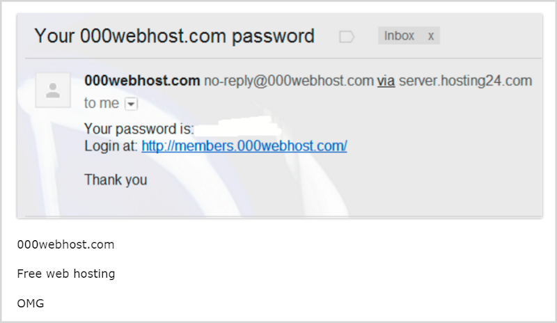 000webhost sending passwords via email