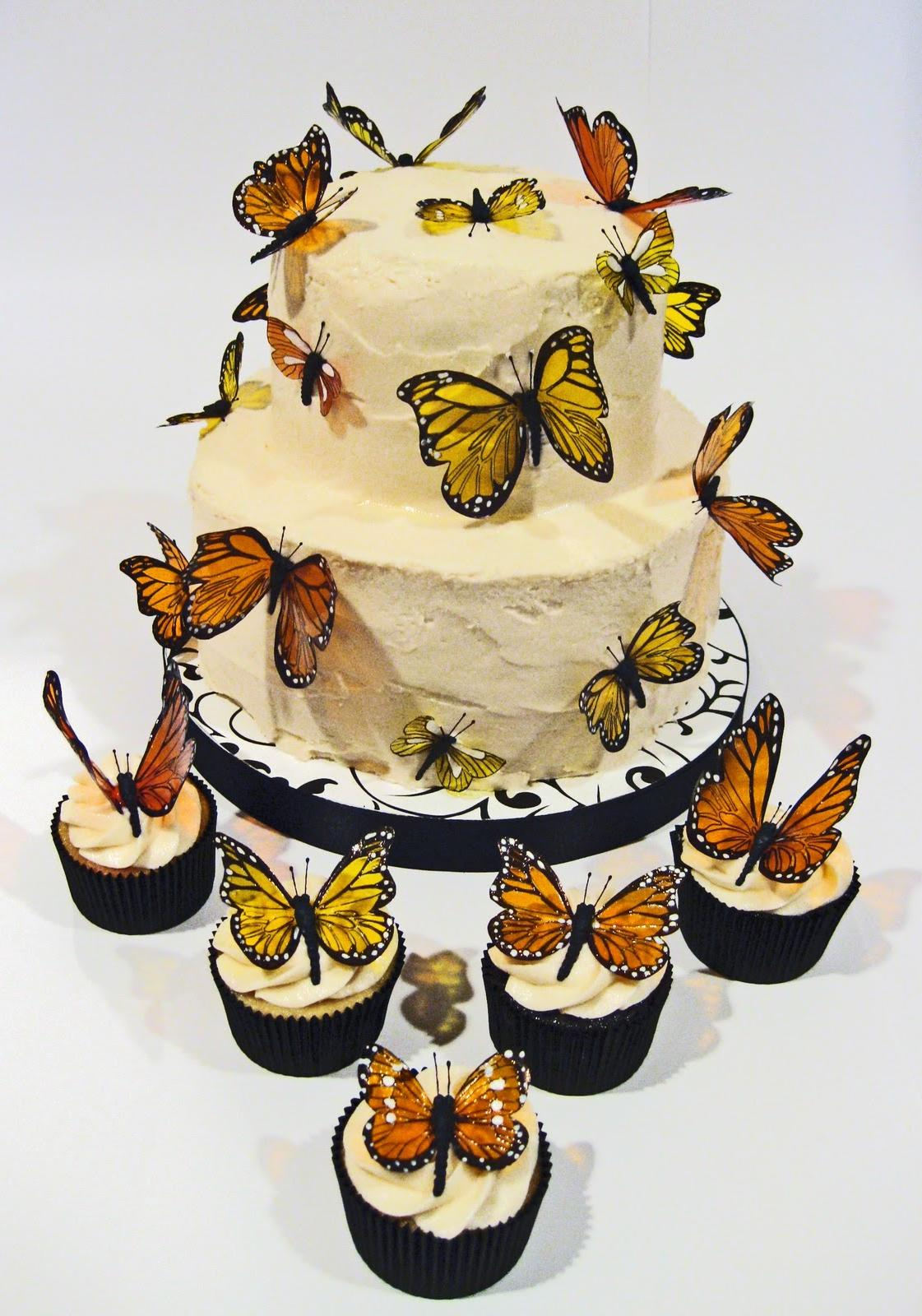 Monarch Butterfly Wedding Cake