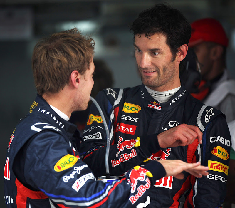 Себастьян Феттель и Марк Уэббер делятся впечатлениями после квалификации на Гран-при Индии 2011