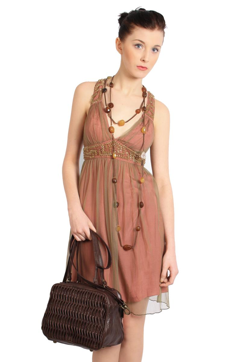 Velers pink and khaki midi dress