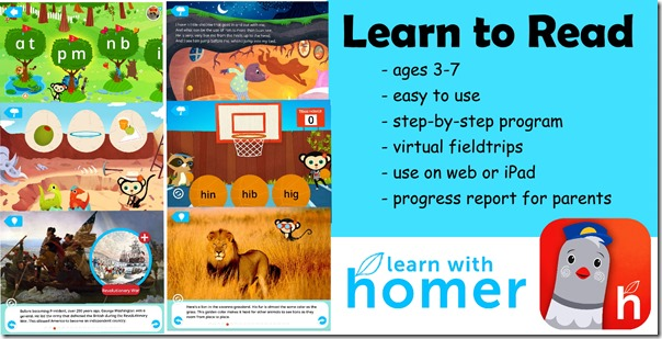 Learn with Homer is our favorite educational app to help kids read and learn about the world around them