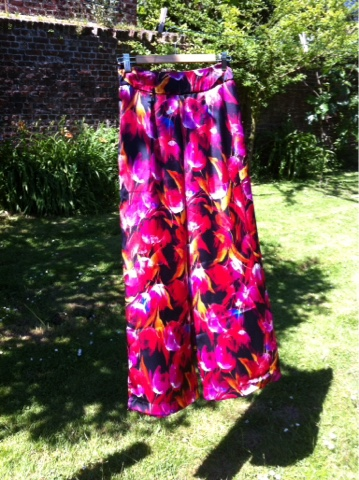 Pantalon large satin