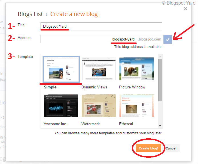 create a new blog options