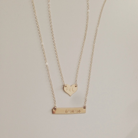 This happy life my new mommy necklace a heart with r l for me and my hubby and then my kiddos first initial with a heart in between for the bar necklace i love how they turned out aloadofball Gallery