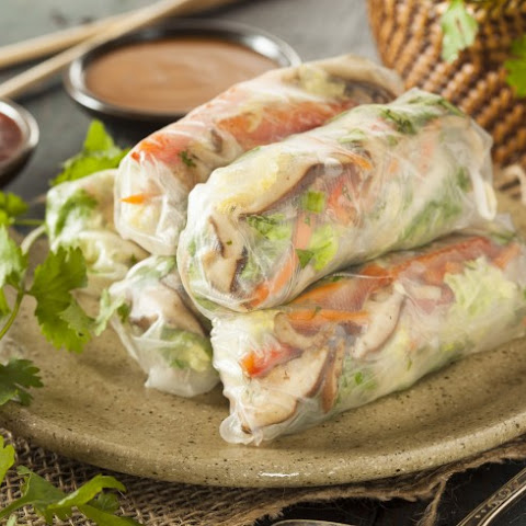 California Rock Crab Spring Rolls With Plum Dipping Sauce