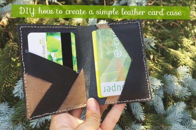 DIY Simple leather card case black & gold triangles